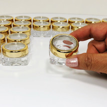 5 Cosmetic Jars Beauty Lip Balm Containers Gold Trim Acrylic Lid 10 Gram... - $13.95