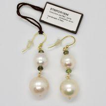 Boucles D'Oreilles en or Jaune 18k 750 Perles Eau Douce Tourmalines Vert image 2