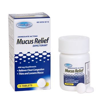 Immediate Acting Mucus relief, Expectorant, 400 mg Guaifenesin, 15 tablets