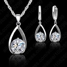 Free Shipping Wedding Clear Austrian Crystal Rhinestone Water Drop Necklace Earr - $12.79