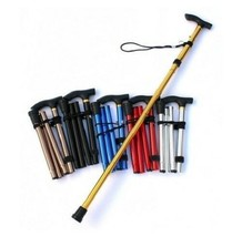 Aluminum Metal Four Sections Walking Stick Easy Adjustable Foldable Trav... - $16.25