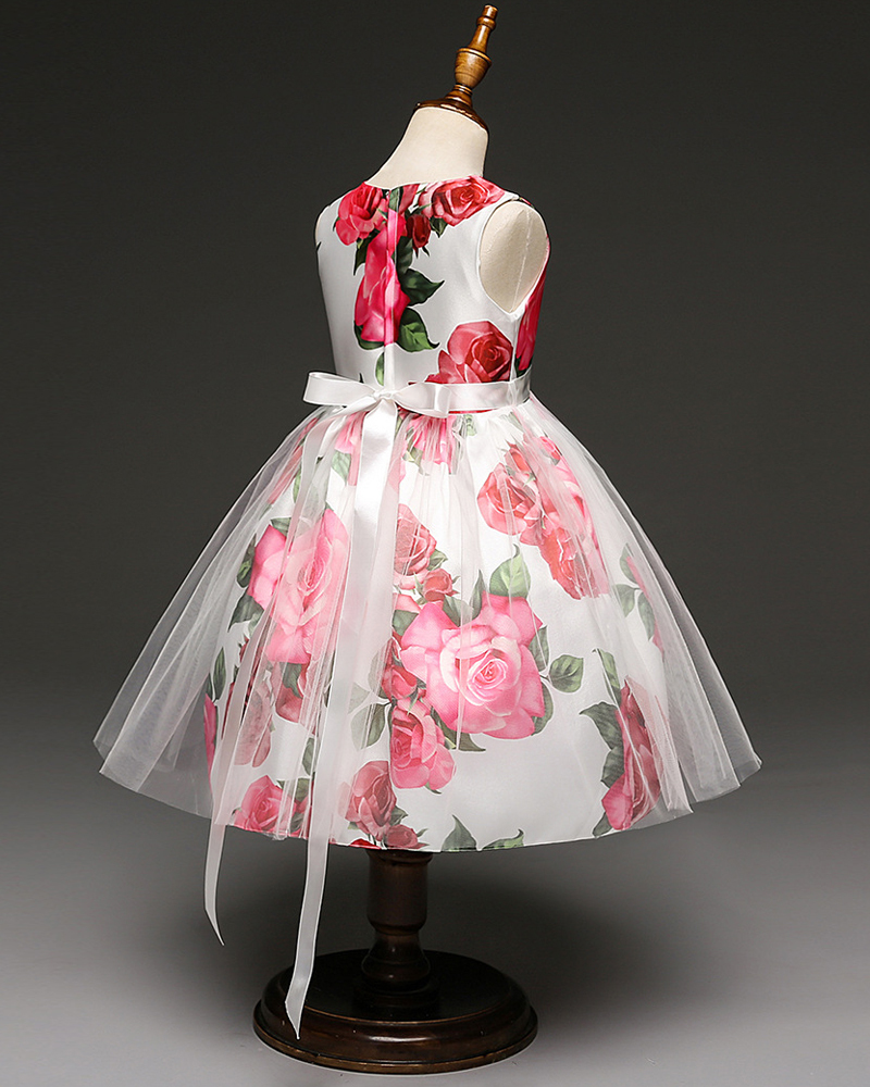 Birthday Dress Floral Print Flower Girl Dresses Short Formal Party Gowns Holiday