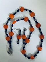 Orange Chunky Plastic Bead Necklace & Dangle Pierced Earring Fashion Jewelry Set - $13.09
