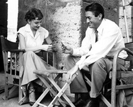 Gregory Peck and Audrey Hepburn in Roman Holiday playing cards on set 16x20 Canv - $69.99