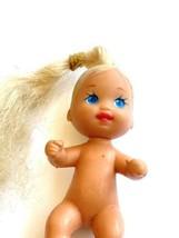 Vtg Mattel 1973 Baby barbie Krissy Long Rooted Blonde Hair Blue Eyes mermaid - $10.88