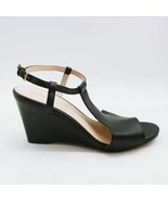 Cole Haan Womens Maddie Sandals Black Buckle Ankle Strap Wedge Heels 9 B... - $82.16