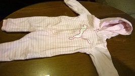 PUMA Pink Hooded Coverall One Piece Outfit 3-6 Months Striped Zipper Footless - $7.07