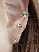 Rhinestone Star Ear Cuff and Stud Earring - $5.95