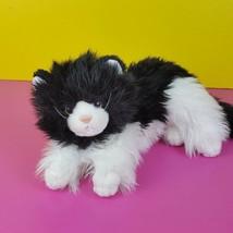 """Ty Classic Plush Kittles Black White Cat 2007 Fluffy Tuxedo Kitten Long Hair 12"""" - $36.62"""