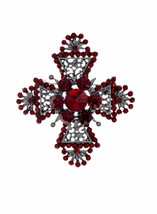 "2.3/8"" Long Red Rhinestones Maltese Cross Brooch Pin Gunmetal Finishing  - $12.83"