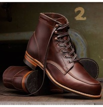 Handmade brown lace-up real leather ankle high boot, Men brown ankle bootd - $189.99