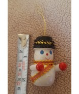 "Vtg handpainted wooden snowman figurine 2"" Christmas Winter ornament dec... - $12.16"
