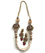 24 Inches Multilines Pearls,Golden Balls & Polki Necklace Pendant Earrin... - $49.99