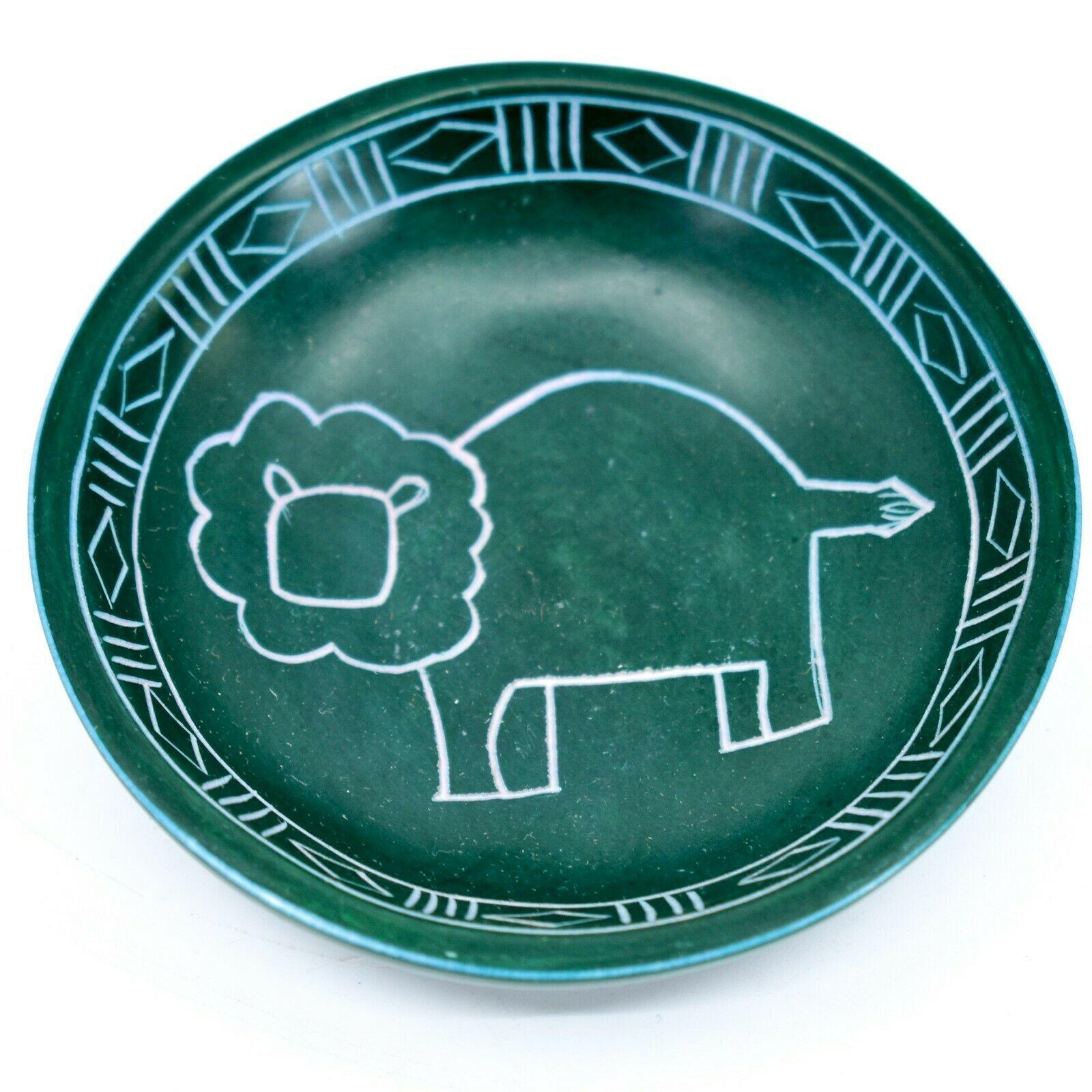 Tabaka Chigware Hand Carved Kisii Soapstone Green Lion Trinket Bowl Dish Kenya
