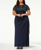 XSCAPE Embellished Empire-Waist Gown Navy Plus Size 14W $259 image 2