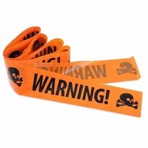 Halloween Plastic Warning Tape Signs Skull Head Window Props Party Decor... - £6.22 GBP