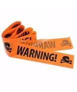 Halloween Plastic Warning Tape Signs Skull Head Window Props Party Decor... - $10.68 CAD
