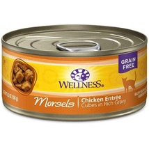 WELLNESS Morsels Chicken Entree 24 Cans 5.5 oz Grain Free Cat Food Best ... - $30.30