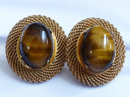 Gold Tone Mesh Style Oval Tiger Eye Stone Clip On Earrings - $23.76