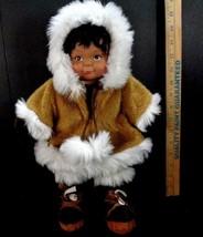 "Kipmik Eskimo Girl 16"" Doll Anchorage Alaska Plush Stuffed Doll Faux Fur... - $18.80"