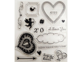 Valentine's Day Clear Stamp Set, Hearts, Kiss, Sentiments and More