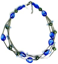 NECKLACE MULTI WIRES TUBE BLUE DROP SPHERE PETALS MURANO GLASS ITALY MADE image 2