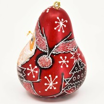 Handcrafted Carved Gourd Art Red Santa Claus Christmas Ornament Made in Peru image 2