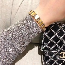 NEW Authentic CHANEL 2019 Multi Strand Crystal CC Gold Chain Pearl Bracelet  image 11