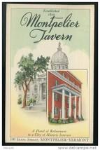 VT Hotel Montpelier Tavern Vermont Vintage 1941 Postcard - $4.99