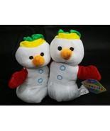 THE ORIGINAL BEANPALS 2 Christmas Snowmen KellyToy Bean Pal Beanie  NEW - $9.49