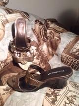 Pierre Dumas Allegra Women's 9M Metallic Slip On Strappy Sandals Heels Shoes - $24.74
