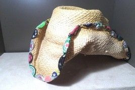 Lake rat straw hat with bottle caps border Rock and Roll Country style R... - $29.65