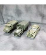 3 Military Vehicles, 2 SOLIDO 1 Rex Toys, Cadillac Sedan, GMC & S.U.M.B.... - $45.80