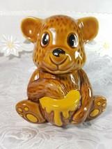 Vintage Ceramic Bear & Honey Pot w/ Dipper Made in Taiwan