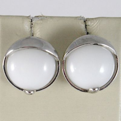 EARRINGS SILVER 925 RHODIUM WITH AGATE WHITE ROUND BRIGHT BUTTON