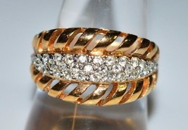 VTG Gold Plated Filled Openwork Clear Rhinestone Pave Ring Size 9 - $29.70