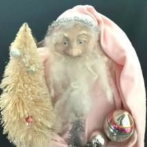 Vintage Pink Santa Claus Pink Doll Christmas Silver Tinsel Hand Made OOAK - $148.50