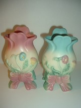 2 Hull Bow Knot 6 Inch Vases Blue and Pink - $59.99