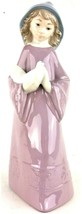 NAO by Lladro Figurine Girl Holding Dove Handmade in Spain Mauve Dress C... - $42.08