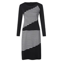 vintage dress Stripe Long Sleeve Round Neck Slim Fit Business Attire Cas... - $15.10