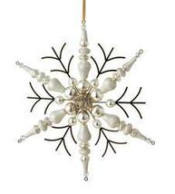 "7"""" Silent Luxury Rustic Gold Beaded Finial Snowflake Christmas Ornament - ₨3,403.47 INR"