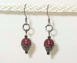 made w Swarovski Crystal Pearl Elements Burgundy GunMetal Accent Earring... - $9.90