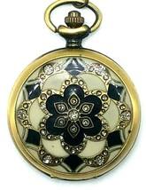 Vintage Style Etched Brass Tone and Cloisonne Quartz Pocket Watch w Chain - $19.95