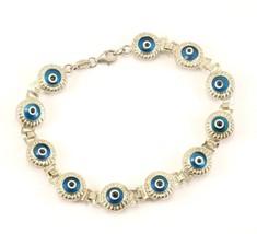 Vintage Evil Eye Design Link Bracelet 925 Sterling BR 3217 - $38.86