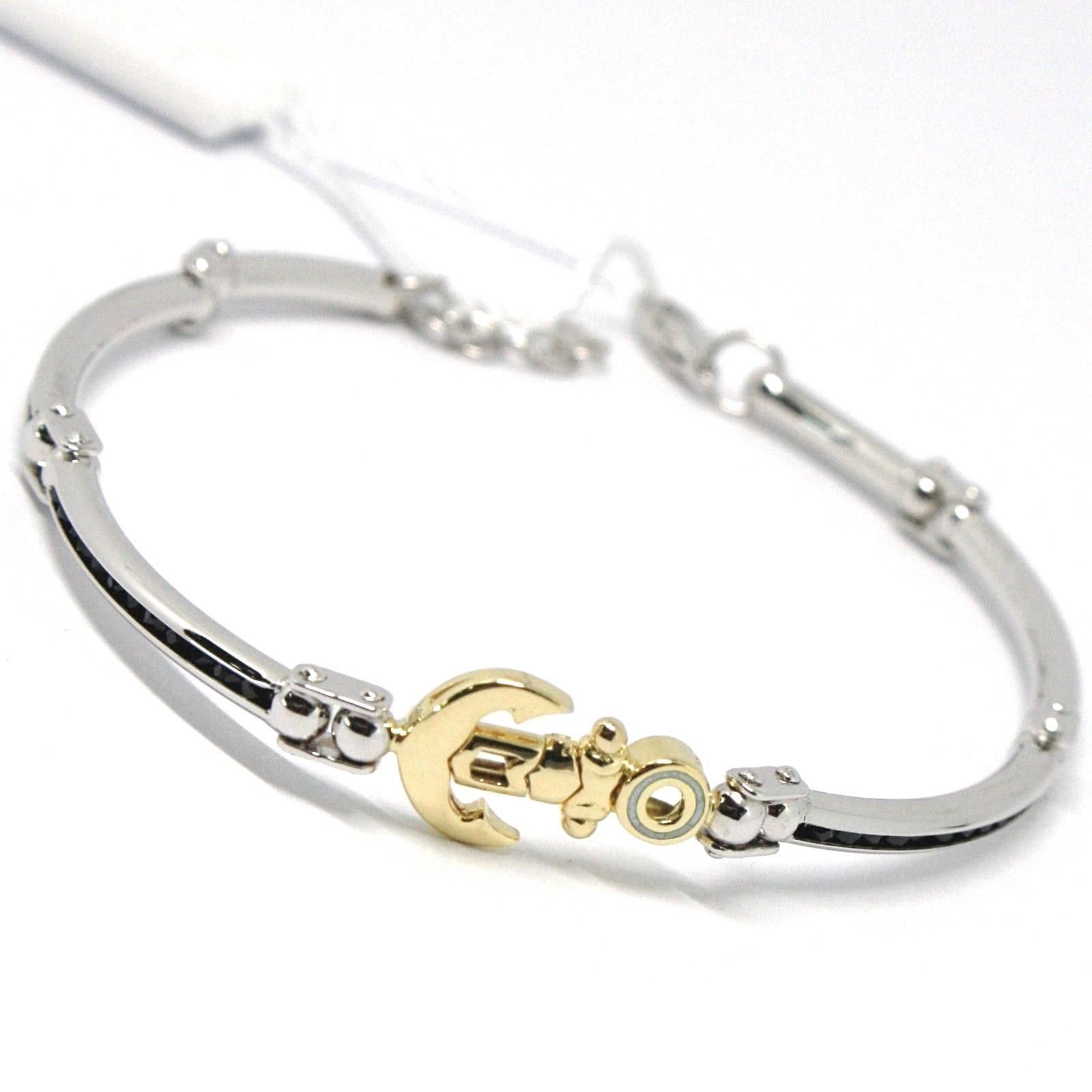 Bracelet Yellow Gold White 18k 750, Seeds Rigid, Anchor Shaped, Zircon Black,