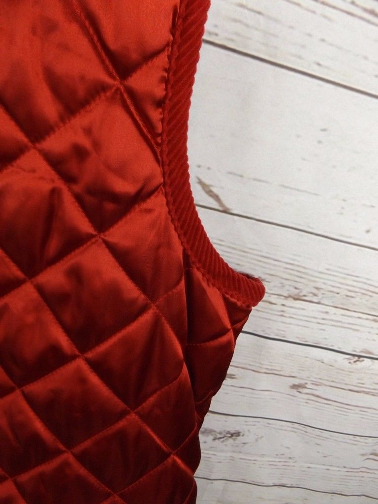 Laura Scott Quilted Vest Size 18W Red Satin with Corduroy Trim