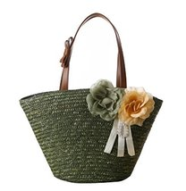 Fashion Vacation Item/ Artificial Flower Straw Hand Bag/ Beach Bag/Dark Green
