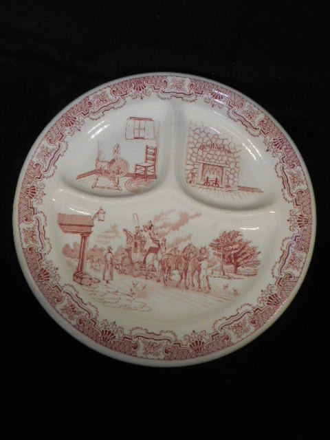 "Vintage Iroquois China USA Transferware Pink Ye Olde Inn 10"" Divided Grill Plate"