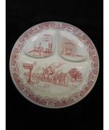 "Vintage Iroquois China USA Transferware Pink Ye Olde Inn 10"" Divided Gri... - $23.75"