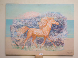 Painting Modern Signed Pancaldi Horse Stylised With The Technical Of Fro... - $326.31